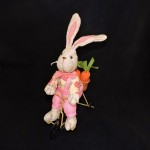 burton + Burton Plush Linen Easter Bunny On Bicycle With Pink Overalls