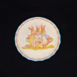 burton + Burton Round Ceramic Bunny Dinner Plate With Blue Edge