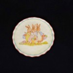 burton + Burton Round Ceramic Bunny Dinner Plate With Pink Edge